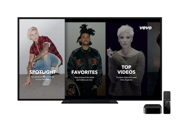 Vevo's application on an Apple TV
