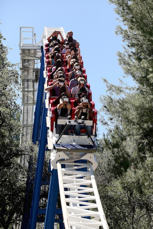 VALENCIA, CALIFORNIA - MARCH 25: Guests ride the first virtual reality coaster powered by Samsung Gear VR at Six Flags Magic Mountain on March 25, 2016 in Valencia, California. (Photo by Jonathan Leibson/Getty Images for Samsung)