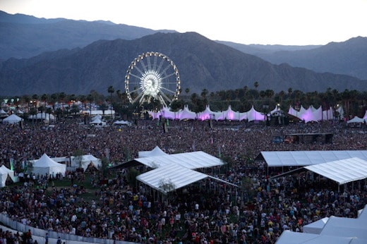 View of Coachella 2014 at dusk on April 11, 2014.