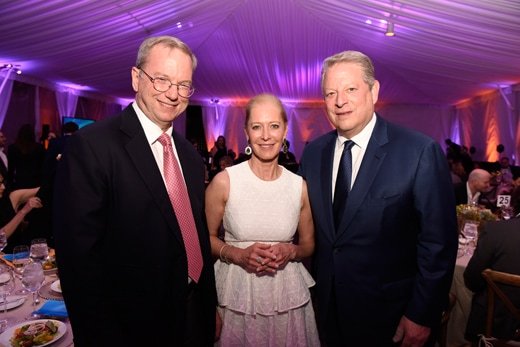 Alphabet chief Eric Schmidt, Wendy Schmidt, and Al Gore at Tony Pritzker's House celebrating UCLA environmental honorees like Ted Sarandos. (Getty Images)