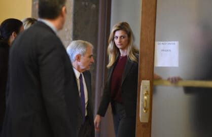 NASHVILLE, TN - MARCH 2: Sportscaster and TV personality Erin Andrews heads back to the courtroom after a short recess on March 2, 2016 in Nashville, Tennessee.  (Photo by Erika Goldring/Getty Images)