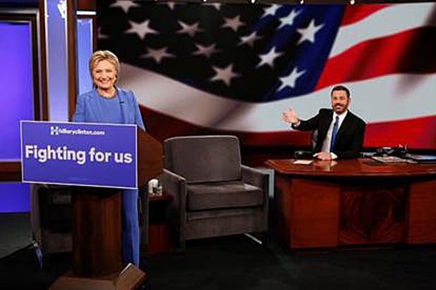 Hillary Clinton on Kimmel with Sign