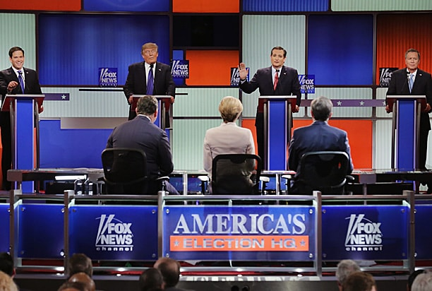 Marco Rubio, Donald Trump, Ted Cruz and John Kasich at March GOP Debate