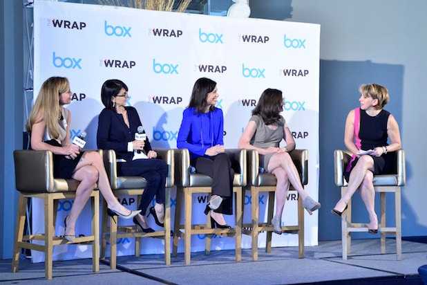 aren Appleton, Senior VP of BOX, Ruth Vitale, CEO of CreativeFuture, and Jessica Rosenworcel, Commissioner of the FCC, and Julie Brill, Commissioner of the FTC