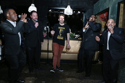 """The group behind ballad """"I Swear"""" (All For One) crooned for the Queen of All Media at his birthday bash at Blind Dragon on Thursday, March 24, 2016. (Faye Sedou)."""