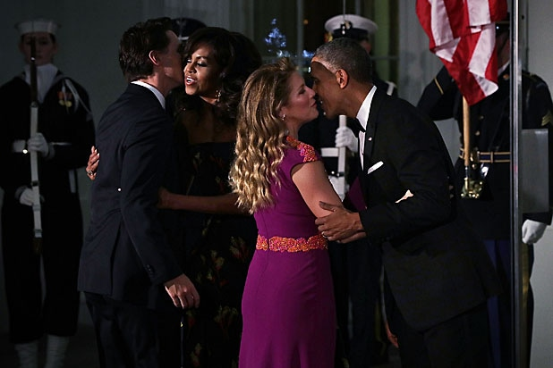 President Barack Obama, Michelle Obama, Canadian Prime Minister Justin Trudeau, Sophie Trudeau kiss at White House state dinner