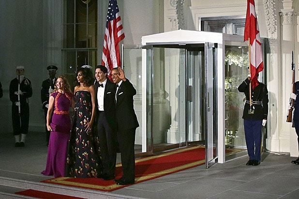 President Barack Obama, Michelle Obama, Canadian Prime Minister Justin Trudeau, Sophie Trudeau before at White House state dinner