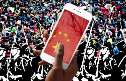 An Apple iPhone with the Chinese flag