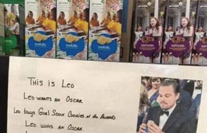 Girl Scouts use Leonardo DiCaprio's face to sell Cookies