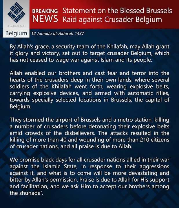 isis statement on brussels