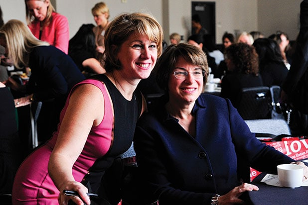 Sharon Waxman Senator Amy Klobuchar at TheWrap's Power Women Breakfast