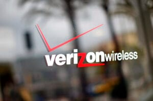 A Verizon Wireless logo on a window