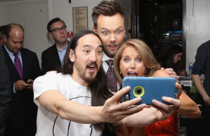 Steve Aoki, Joel McHale and Katie Couric attend the 2015 Yahoo Digital Content NewFronts