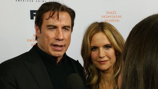 John Travolta and Kelly Preston arrive to the Ace on April 4, 2016. (Mikey Glazer)