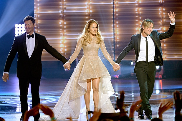 Harry Connick Jr Jennifer Lopez and Keith Urban at American Idol Finale