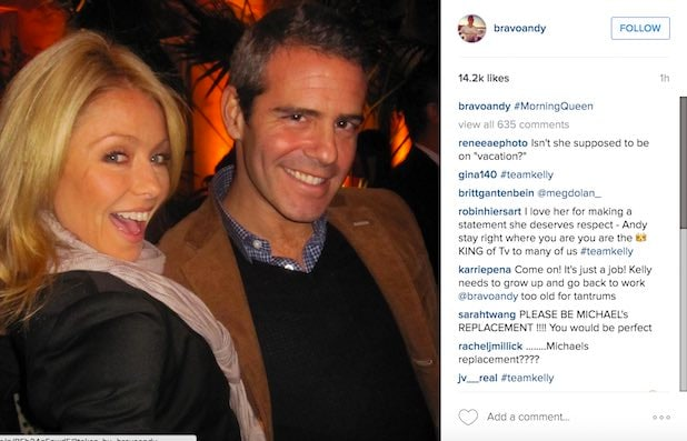 Andy Cohen Kelly Ripa Instagram Support