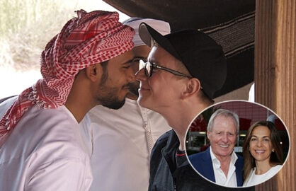 Tyler Oakley gives a Bedouin greeting in Dubai