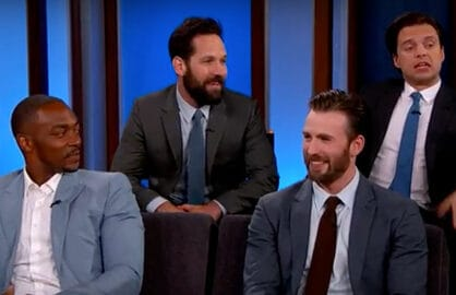 Captain America cast on Jimmy Kimmel Live