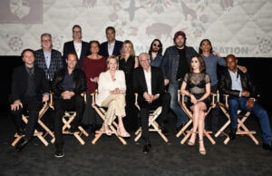LOS ANGELES - APRIL 28: Top Row (l-r) Executive Producer, Warren Littlefield; Executive Producer, John Cameron; Moderator, Mary McNamara; Brad Garrett; Rachel Keller; Allan Dobrescu; Angus Sampson; Zahn McClarnon. Bottom Row (l-r) Executive Producer/Showrunner/Writer, Noah Hawley; Patrick Wilson; Jean Smart; Ted Danson; Cristin Milioti; Bokeem Woodbine at the Q&A panel for FX Networks 'Fargo' TV Academy For Your Consideration event at Paramount Theatre on April 28, 2016 in Los Angeles, California. (Photo by Dan Steinberg/FX)