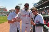 Jake Gyllenhaal, David Ortiz and Jeff Bauman at Red Sox