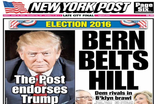 NY Post endorses Donald Trump