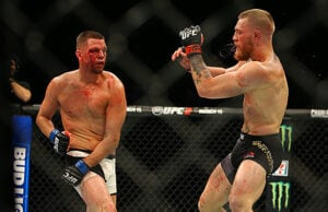 Nate Diaz and Conor McGregor at UFC 196