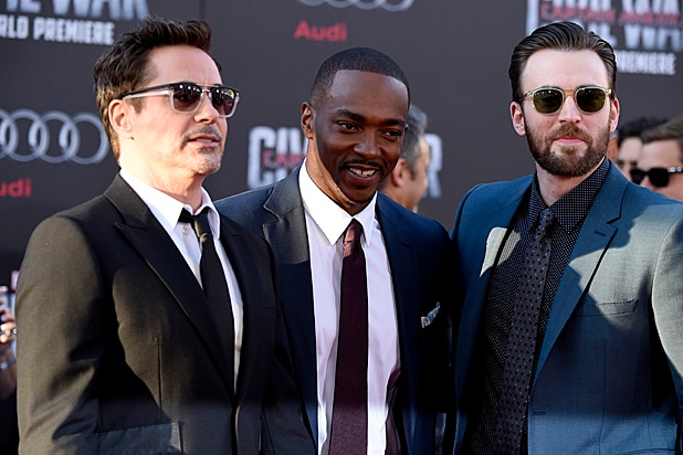 Robert Downey Jr., Anthony Mackie and Chris Evans at Captain America: Civil War