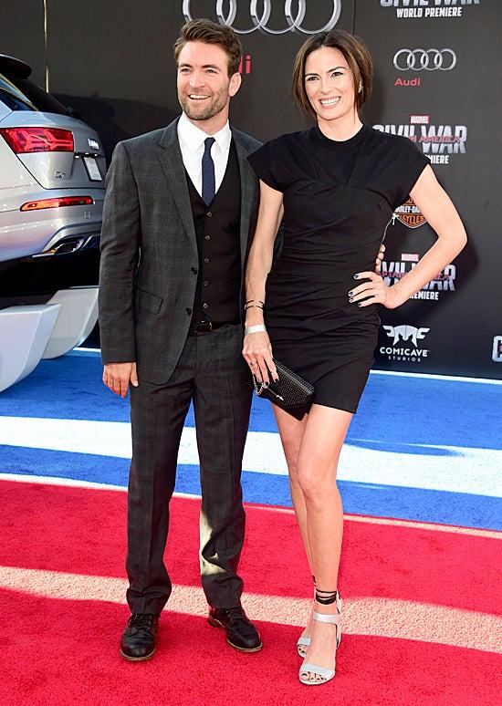 Sam Hargrave and stunt-woman Monique Ganderton attend the premiere of Marvel's Captain America: Civil War