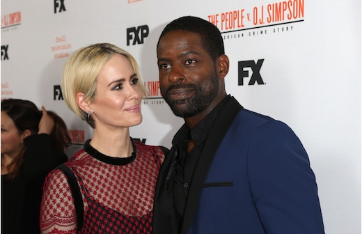 "Sarah Paulson and Sterling K. Brown from ""The People v. O.J. Simpson"" at a finale screening in LA on April 4, 2016."