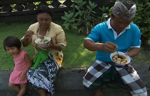"""Not Goat Testicle Soup on the """"Amazing Race"""" in Indonesia. (CBS)."""