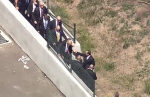 Watch Donald Trump Hop Fence to Avoid Protesters in San Francisco (Video)
