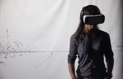 A viewer watches VR film Sens at the Tribeca Film Festival