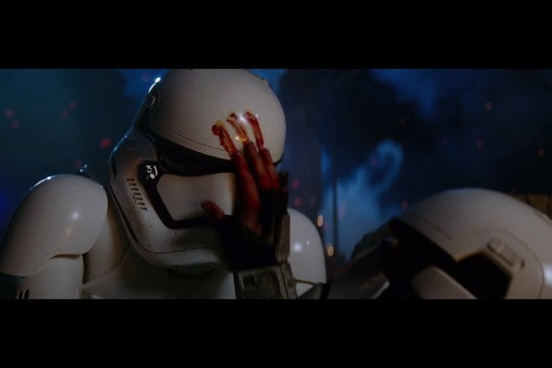 bloody hand stormtrooper shot by poe