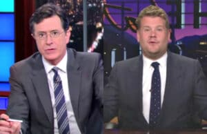 CBS Late Night Shows Colbert Corden