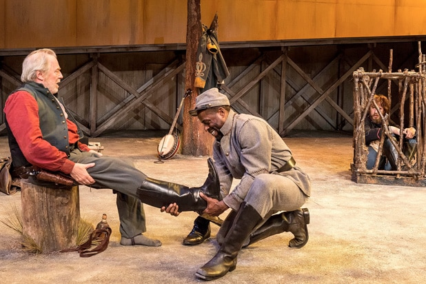 """Michael McKean, Sterling K. Brown and Josh Wingate in """"Father Comes Home From The Wars (Parts 1, 2 & 3)"""" at Center Theatre Group/Mark Taper Forum"""