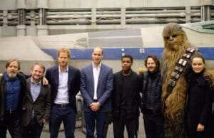 prince william prince harry star wars set visit daisy ridley rian johnson john boyega