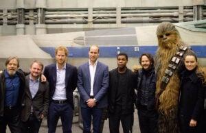 prince william prince harry star wars set visit daisy ridley rian johnson john boyega