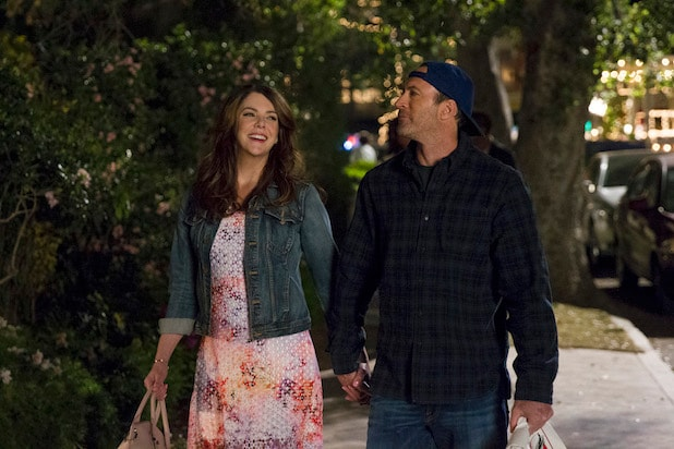 "Characters Luke and Lorelei hold hands in Netflix's revival of ""Gilmore Girls"""