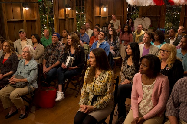 "The inhabitants of Stars Hollow at a town meeting in Miss Patty's Studio in Netflix's revival of ""Gilmore Girls"""