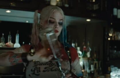 suicide squad harley quinn pouring drinks