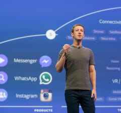 Facebook CEO Mark Zuckerberg at Facebook's F8 conference