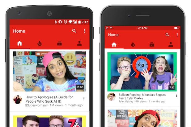 YouTube redesigned the Home tab of its app