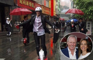 "Vine superstar Cole LaBrant rides a motorized unicycle in China on the May 6, 2016 episode of ""The Amazing Race""."