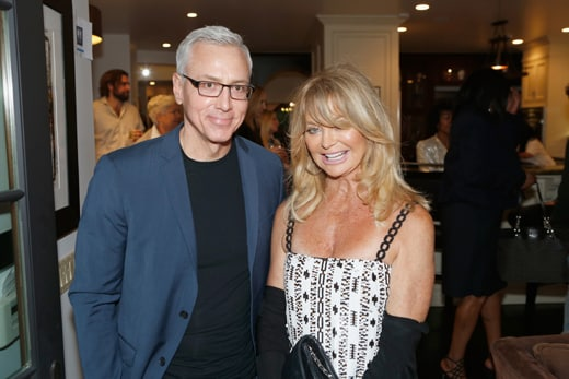 """""""LOS ANGELES, CA - MAY 03: Dr. Drew Pinsky and honoree Goldie Hawn attend Russell Simmons' Rush Philanthropic Arts Foundation's inaugural Art For Life Los Angeles at Private Residence on May 3, 2016 in Los Angeles, California. (Photo by Randy Shropshire/Getty Images for The Rush Philanthropic Art Foundation)"""""""