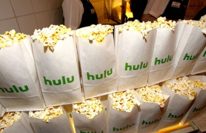Popcorn bags with the Hulu logo at a premiere event