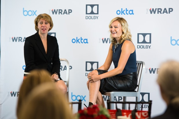 Malin Akerman Sharon Waxman speak at Power Women Breakfast
