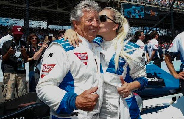 Lady Gaga rides with Mario Andretti at Indy 500