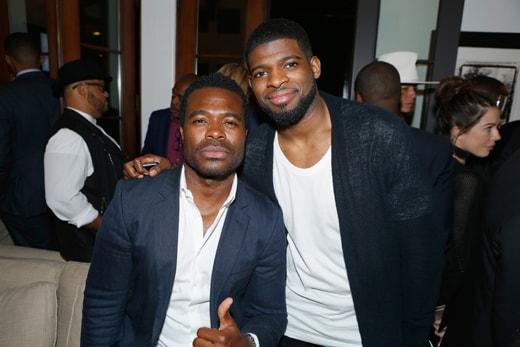 """""""LOS ANGELES, CA - MAY 03: Actor Lyriq Bent and NHL player P.K. Subban attend Russell Simmons' Rush Philanthropic Arts Foundation's inaugural Art For Life Los Angeles at Private Residence on May 3, 2016 in Los Angeles, California. (Photo by Randy Shropshire/Getty Images for The Rush Philanthropic Art Foundation)"""""""