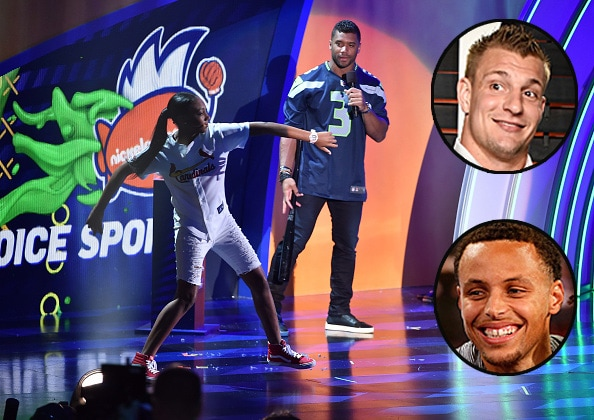 Russell Wilson Rob Gronkowski and Stephen Curry at Nickelodeon Kids Choice Sports