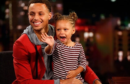Stephen Curry and Riley Curry